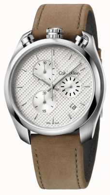 Calvin Klein Mens contrôle brun chronographe en cuir K6Z371G6