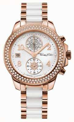 Thomas Sabo Femme glam chrono céramique doré / blanc WA0173-262-202-38
