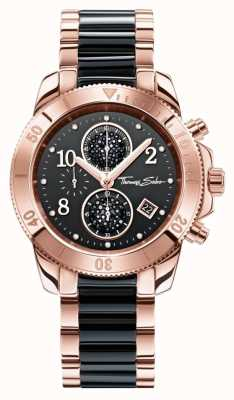 Thomas Sabo Womens chrono glam noir / or rose WA0223-268-203-40