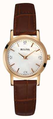 Bulova Mesdames montre en or bracelet brun en cuir 97S105
