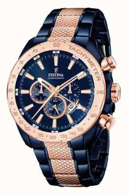 Festina Mens deux bleus de ton rose chronographe en or F16886/1