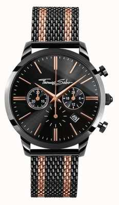 Thomas Sabo Mens esprit rebelle chronographe en or rose noire WA0289-285-203-42