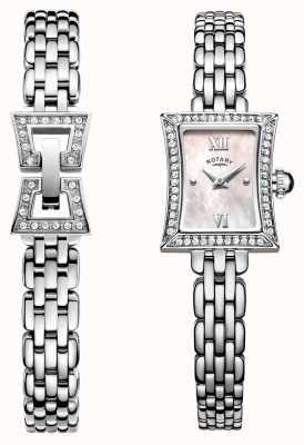 Rotary Ensemble de montre et bracelet en quartz en acier inoxydable mince LB05058/41/SET