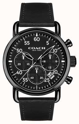 Coach Mens delancey chronographe bracelet en cuir noir cadran noir 14602107