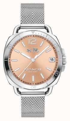 Coach Femmes tatum inoxydable bracelet en maille d'acier rose cadran en or 14502635