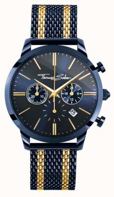 Thomas Sabo Mens chronographe esprit rebelle | bracelet en maille d'acier | étui pvd WA0290-286-209-42