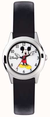 Disney Adult Mickey Mouse boîtier en argent bracelet noir MK1314