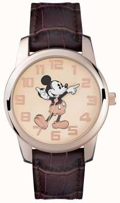 Disney Adult Mickey mouse boîtier en or rose bracelet brun MK1459