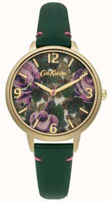 Cath Kidston Mesdames vert bouteille en cuir oxford rose montre CKL001NG