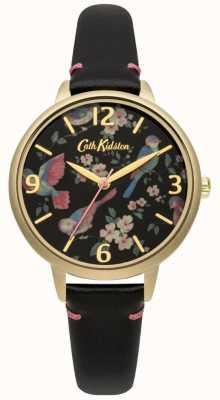 Cath Kidston Mesdames cuir noir montre oiseau britannique CKL001BG
