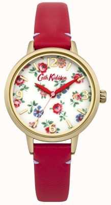 Cath Kidston Mesdames cuir rouge montre lin sprig CKL006RG