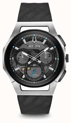 Bulova Mens curv chronographe bracelet en caoutchouc noir 98A161