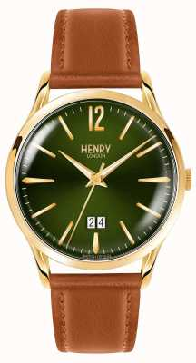 Henry London Bracelet en cuir tanné au visage vert chiswick homme HL41-JS-0188