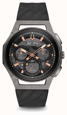 Bulova Chronographe chrono Mens courroie en cuir noir or rose 98A162
