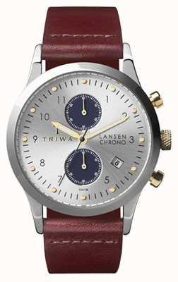 Triwa Mens chrono Lansen brun argent cuir LCST115-CL010312