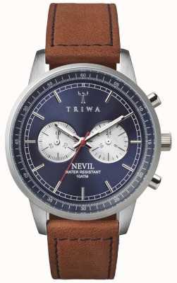 Triwa Mens bleu acier chronographe nevil cuir marron NEST108-SC010216