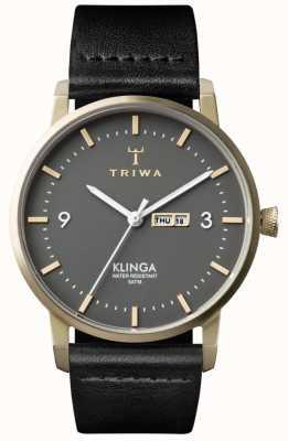 Triwa Unisexe cendres Klinga cuir noir KLST107-CL010117