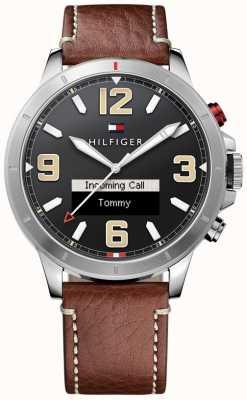 Tommy Hilfiger Th 24/7 smartwatch bracelet en cuir brun cadran noir 1791296