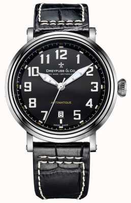 Dreyfuss Mens automatique bracelet en cuir noir DGS00153/19