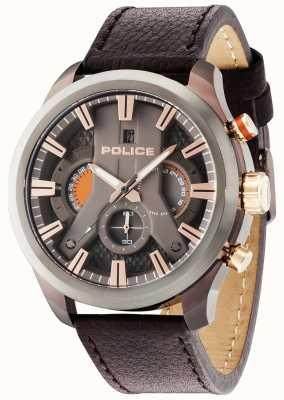 Police Mens cyclone cuir brun cadran bracelet pistolet 14639JSBZU/61