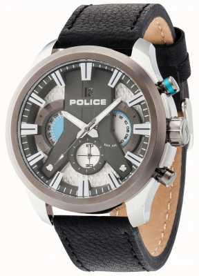 Police cyclone Mens cuir noir cadran bracelet en argent 14639JSTU/04