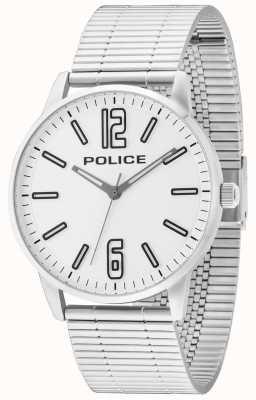 Police Mens billette d'acier inoxydable esquire cadran blanc 14765JS/04M
