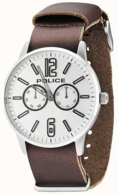 Police Mens esquire x cuir marron foncé 14766JS/04