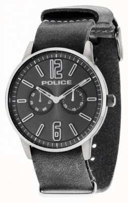 Police Mens esquire x cuir gris foncé 14766JSU/61