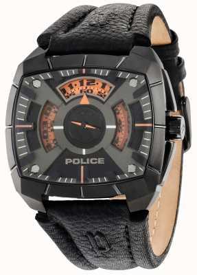 Police g vigueur Mens bracelet en cuir noir cadran noir 14796JSU/02