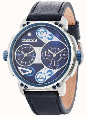 Police Mens cadran bleu steampunk bracelet en cuir bleu 14693JSTBL/03