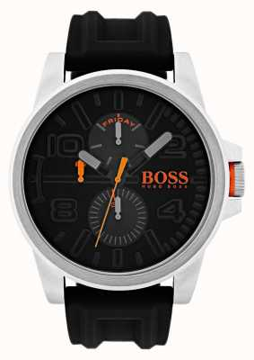 Hugo Boss Orange caoutchouc noir Detroit montre chronographe 1550006