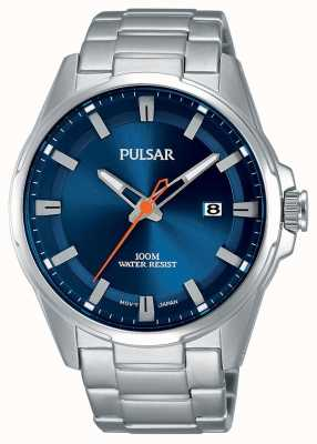 Pulsar Montre à visage bleu en acier inoxydable Gents PS9505X1