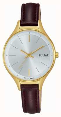 Pulsar Montre en or marron en cuir marron PH8280X1
