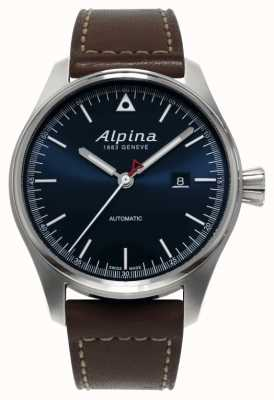 Alpina Montre Startimer automatique en cuir marron avec cadran bleu AL-525N4S6