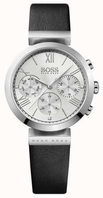 Boss Bracelet en cuir noir sport classique pour femme avec cadran argenté 1502395