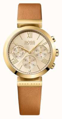 Hugo Boss Womens brun sport classique cadran en or bracelet en cuir 1502396