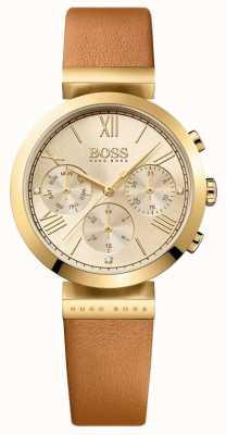 BOSS Bracelet en cuir marron sport classique pour femme cadran doré 1502396