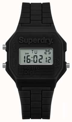 Superdry Mens retro digi black silicone SYG201B