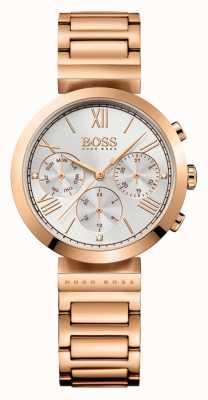 Hugo Boss Womens le sport classique plaqué or rose cadran argenté bracelet 1502399