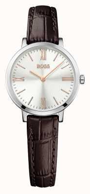 Hugo Boss Womens cadran argenté jillian bracelet en cuir brun 1502393