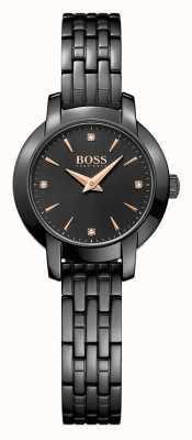 Hugo Boss Womens succès noir plaqué bracelet en acier cadran noir 1502387