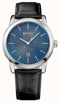 Hugo Boss Mens cadran bleu classique bracelet en cuir noir 1513400