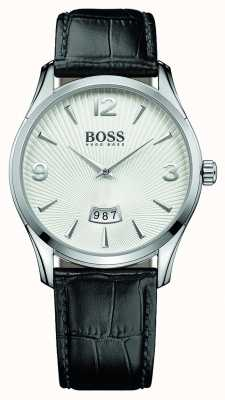 Hugo Boss Mens commander bracelet en cuir noir cadran blanc 1513449