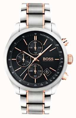 Boss Bracelet homme grand prix en acier inoxydable cadran noir 1513473