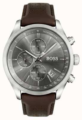 Hugo Boss Mens grand prix bracelet en cuir brun cadran gris 1513476