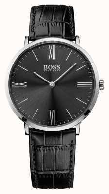Hugo Boss Mens jackson bracelet en cuir noir cadran noir 1513369
