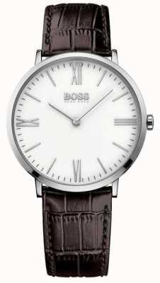 Hugo Boss Mens jackson bracelet en cuir brun cadran blanc 1513373