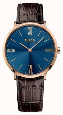 Hugo Boss Mens jackson bracelet en cuir brun cadran bleu 1513458