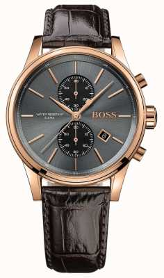 Boss Mens jet bracelet en cuir brun cadran gris 1513281