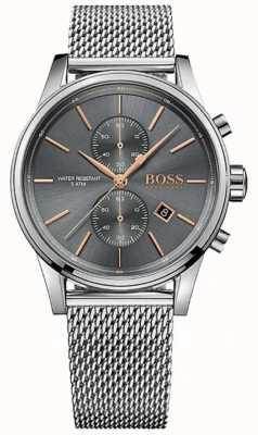 Hugo Boss Mens jet cadran bracelet en maille grise en acier inoxydable 1513440